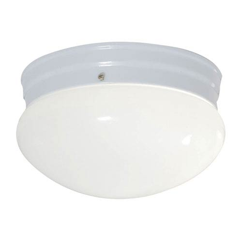 White Single Light Fluorescent Round Ceiling Mount