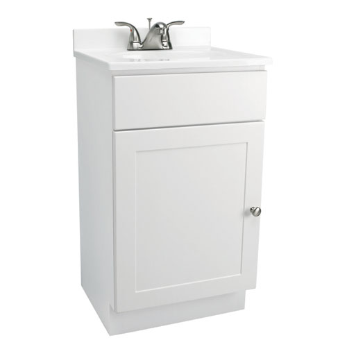 Design House Vanity Combo 18-Inch White Vanity Bathroom Cabinet with Solid White Marble Top