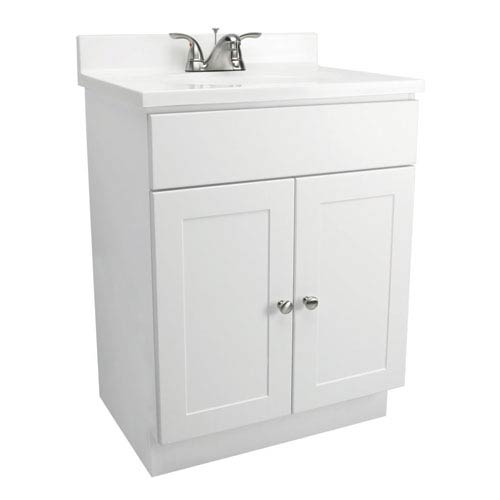 Vanity Combo 30 Inch White Bathroom Cabinet With Solid Marble Top