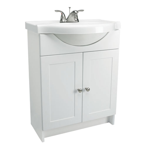Design House Vanity Combo 24 Inch White Vanity Bathroom Cabinet With Solid  White Marble Belly