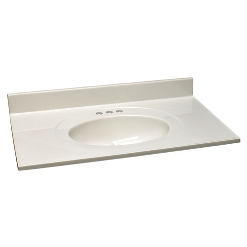Design House Richland White on White Single Bowl Cultured Marble Vanity Top, 37-Inch by 19-Inch