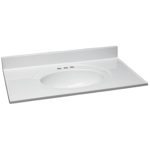Design House Claremont Solid White Single Bowl Cultured Marble Vanity Top, 31-Inch by 22-Inch