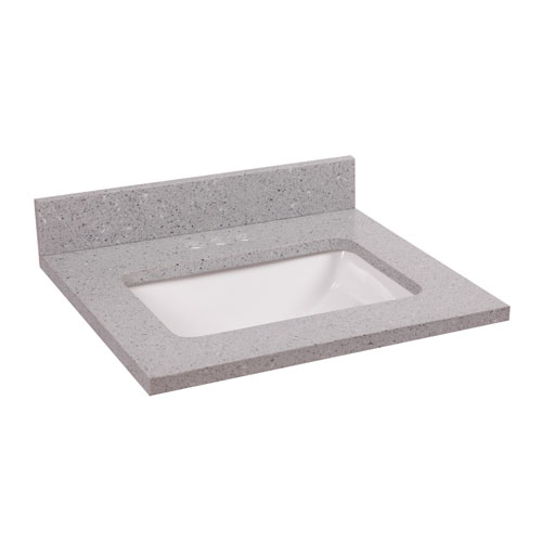 Quartz Single Bowl Vanity Top 25 x 22, Flint