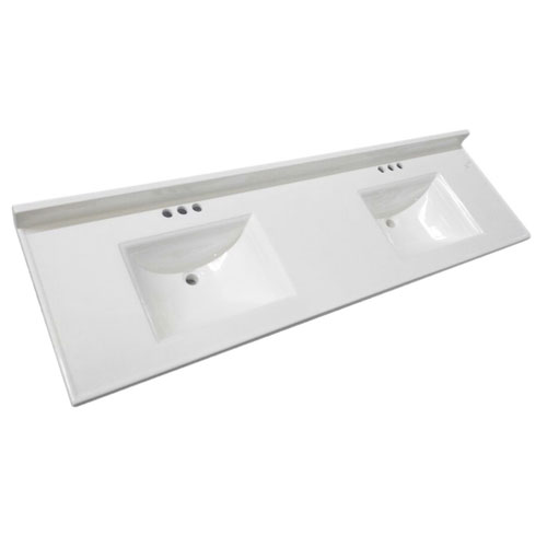 Camilla Double Bowl Vanity Top 73 x 22, Solid White