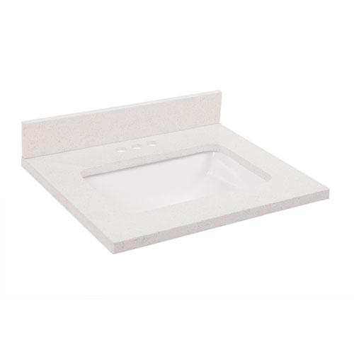 Quartz Single Bowl Vanity Top 31 x 22, Snowdrift