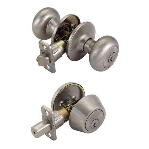 Cambridge 6-Way Latch Deadbolt and Door Knob, Adjustable Backset, Satin Nickel Finish