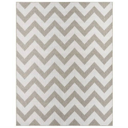 Oasis Tofino Chevron Silver Rectangular: 5 Ft. 3 In. x 7 Ft. 6 In. Rug