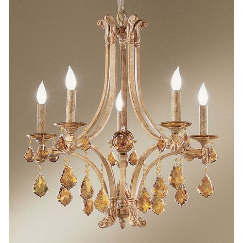 Mediterranean Leather Five Light Chandelier With French Pendalogs Tortoise S Crystal Detail