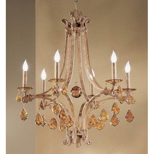 Classic Lighting Mediterranean Leather Six-Light Chandelier with French Pendalogs Tortoise Shell Crystal Detail & Mediterranean Chandelier | Bellacor
