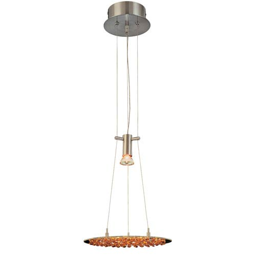 Classic Lighting Crystal Lake Satin Nickel One-Light Pendant with Amber Crystal Accents
