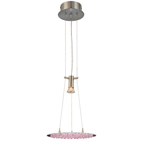 Classic Lighting Crystal Lake Satin Nickel One-Light Pendant with Pink Crystal Accents