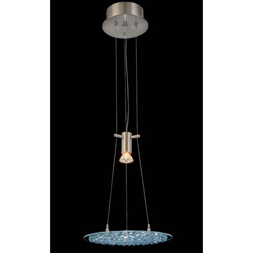 Crystal Lake Satin Nickel One-Light Pendant with Sapphire Crystal Accents