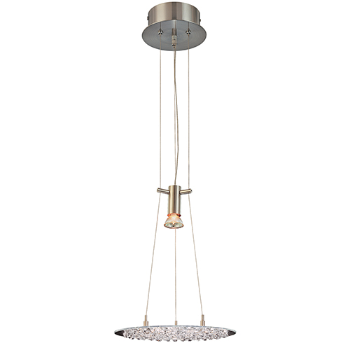 Classic Lighting Crystal Lake Clear Crystal Satin Nickel One-Light Pendant