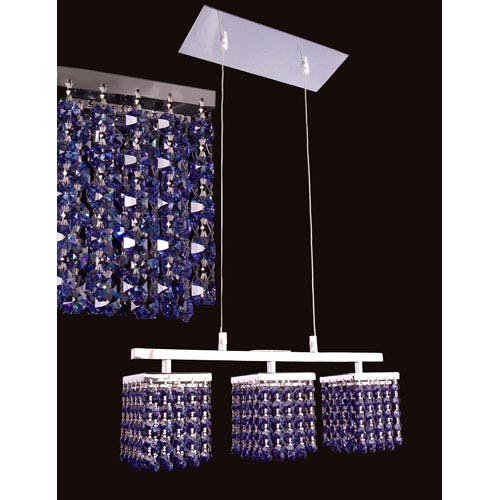Bedazzle Chrome Three-Light Pendant with Swarovski Strass Medium Sapphire Crystal Accents