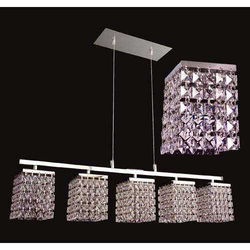 Bedazzle Chrome Five-Light Pendant with Square Crystal Accents