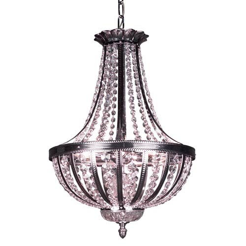 Terragona Chrome with Black Patina Six Light 16-Inch Pendant with Crystalique Plus Accents