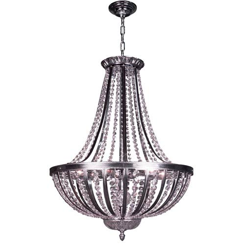 Terragona Chrome with Black Patina Six Light 24-Inch Pendant with Crystalique Plus Accents