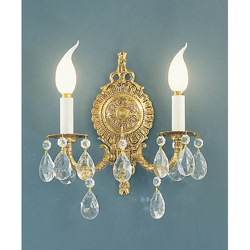 Classic Lighting Barcelona Olde World Bronze Two-Light Wall Sconce with Crystalique Accents