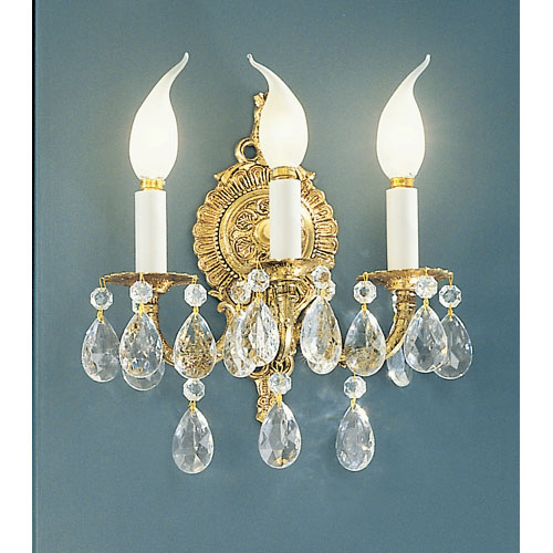 Barcelona Olde World Bronze Three-Light Wall Sconce with Crystalique Accents