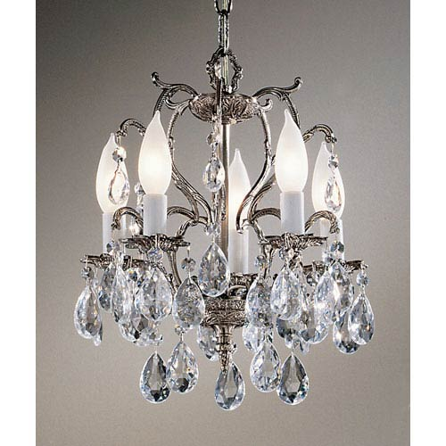 Barcelona Millennium Silver Five-Light Mini Chandelier with Crystalique Accents
