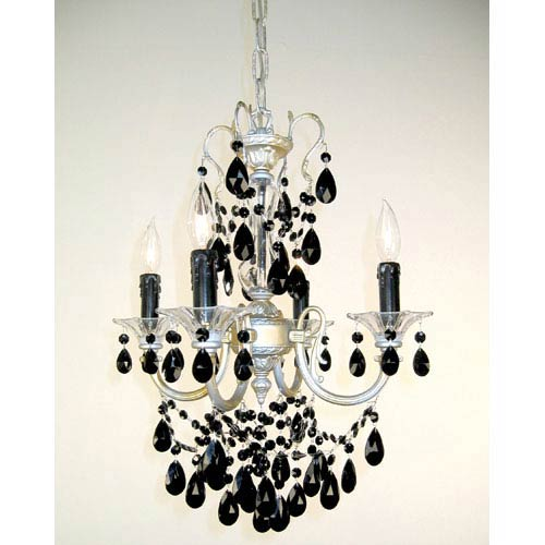 Via Venteo Champagne Pearl Four-Light Mini Chandelier with Black Crystal Accents