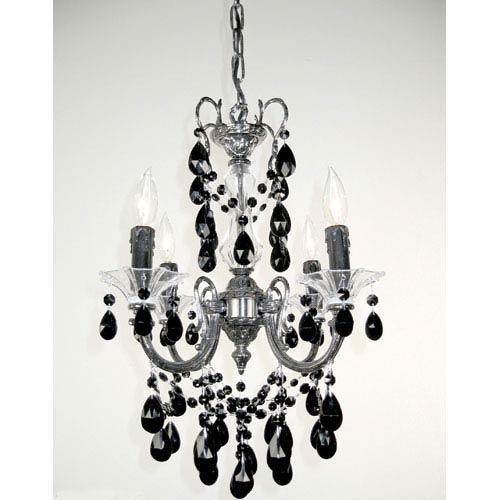 Via Venteo Ebony Pearl Four-Light Mini-Chandelier with Black Crystal Accents