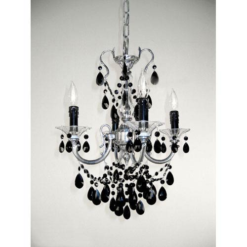 Black mini chandeliers free shipping bellacor via venteo millenium silver four light mini chandelier with black crystal accents aloadofball Choice Image