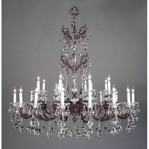 Classic Lighting Via Lombardi Roman Bronze Twenty Four-Light Chandelier with Crystalique Black Accents