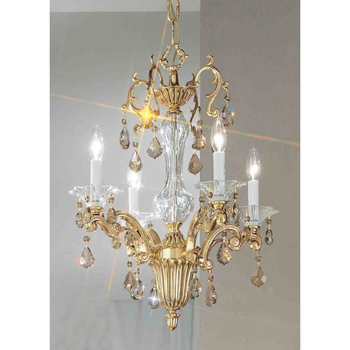 Via Firenze Bronze with Black Patina Four-Light Mini-Chandelier with Strass Golden Teak Crystal Accents
