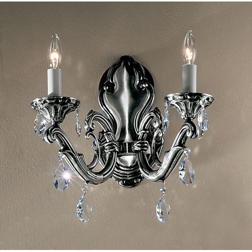 Classic Lighting Princeton Millennium Silver Two-Light Wall Sconce with Swarovski Spectra Crystal Accents
