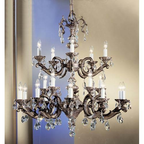 Classic Lighting Princeton Roman Bronze Twenty-Light Chandelier with Swarovski Spectra Crystal Accents