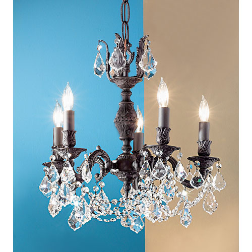 Chateau Aged Bronze Five-Light Chandelier with Crystal Accents