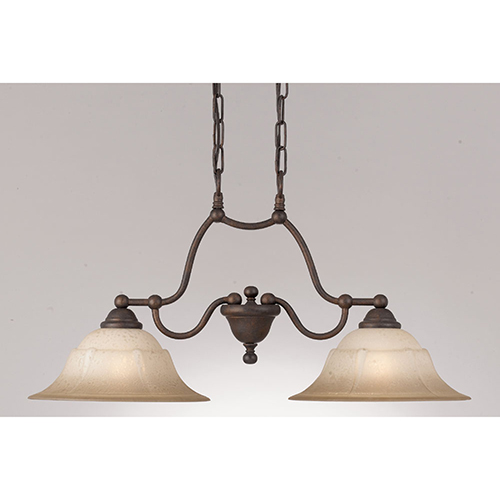 Classic Lighting Providence Rustic Bronze Two-Light Island Pendant