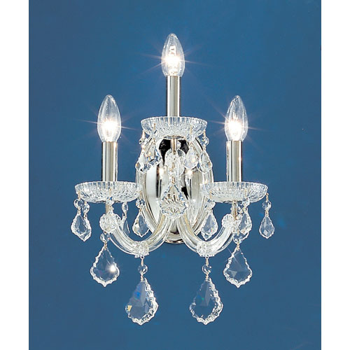 Maria Thersea Chrome Three-Light Wall Sconce with Crystalique Accents