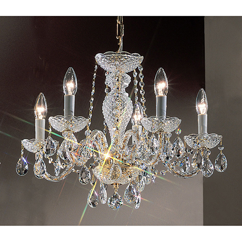 Monticello Gold Plated Five-Light Chandelier