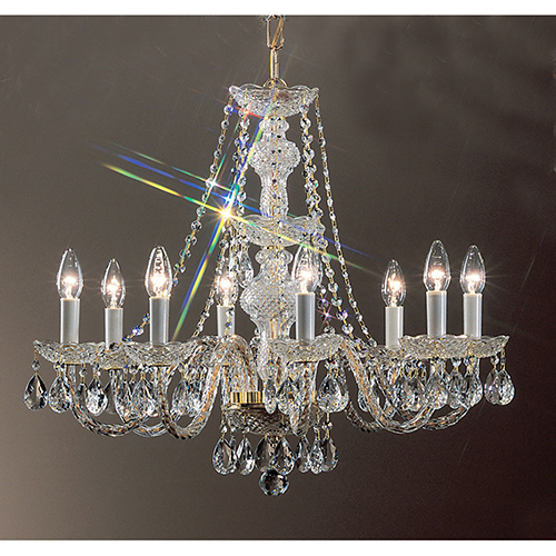 Monticello Gold Plated Eight-Light Chandelier