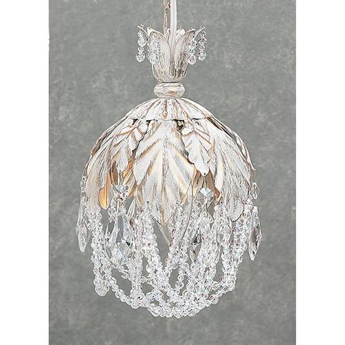 Classic Lighting Petite Fleur Antique White One-Light Mini Pendant