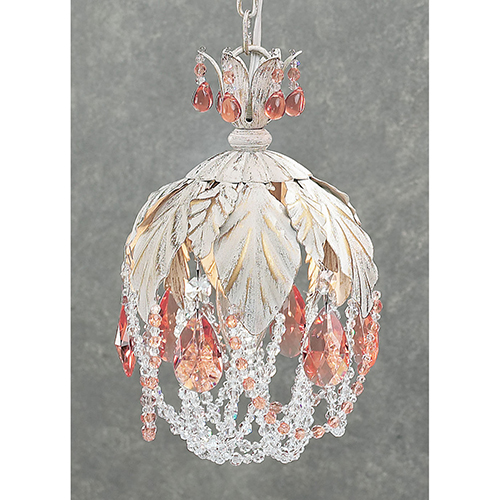 Petite Fleur Crystal Amber, Antique White One-Light Mini Pendant
