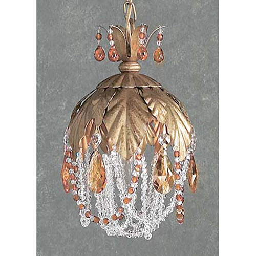 Petite Fleur Crystal Amber, Olde Gold One-Light Mini Pendant