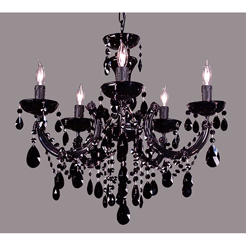 Rialto Traditional Black on Black Five-Light Chandelier
