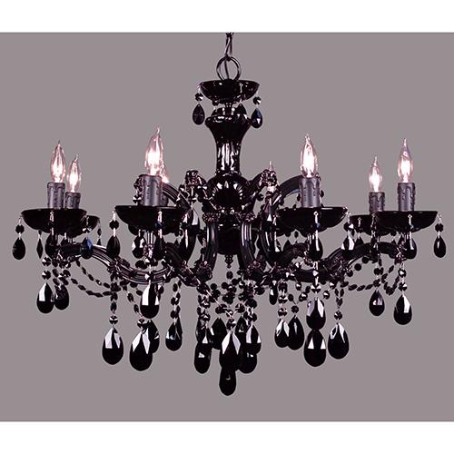 Rialto Traditional Black on Black Eight-Light Chandelier