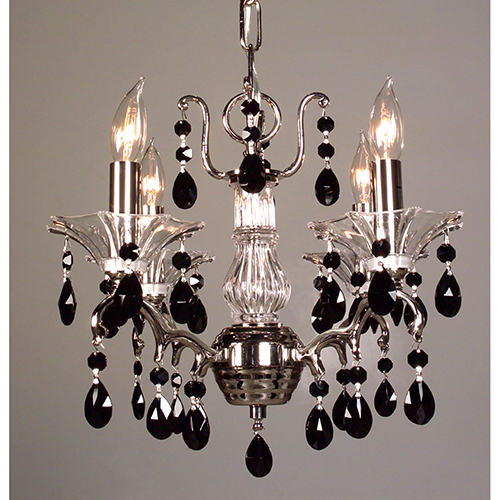 Garden of Versailles Chrome Four-Light Mini Chandelier Crystal Black