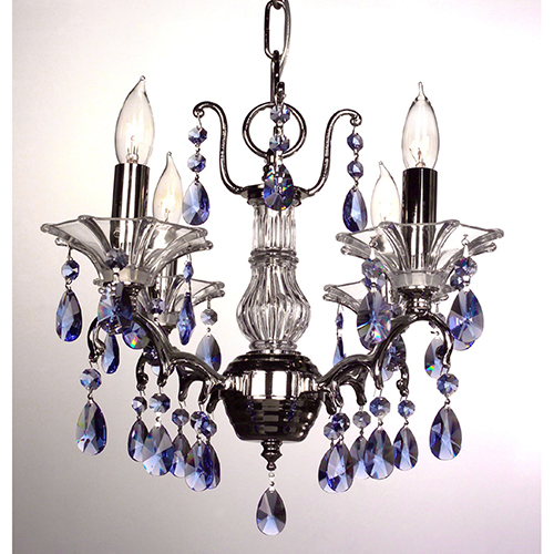 Garden of Versailles Chrome Four-Light Mini Chandelier Crystal Sapphire