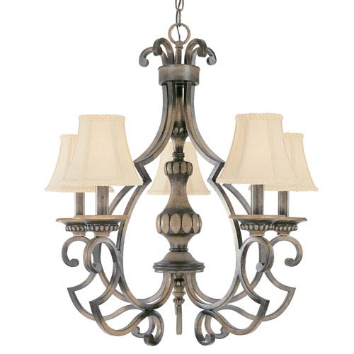 Westchester Honey Rubbed Walnut Five-Light Chandelier