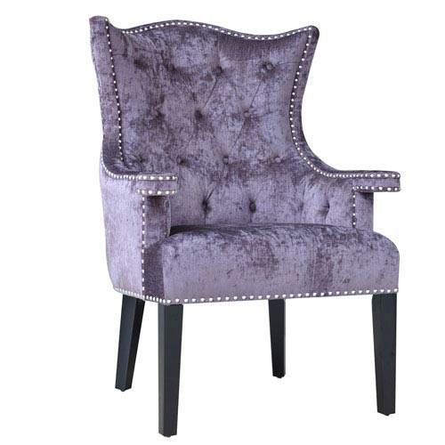 Fifth Avenue Upholstered Eggplant Velvet Chair with Nailhead Trim