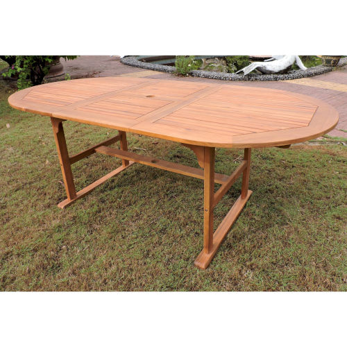 Royal Fiji Dark Honey Stain Acacia Oval Extendable Dining Table with Folding Out Leaf