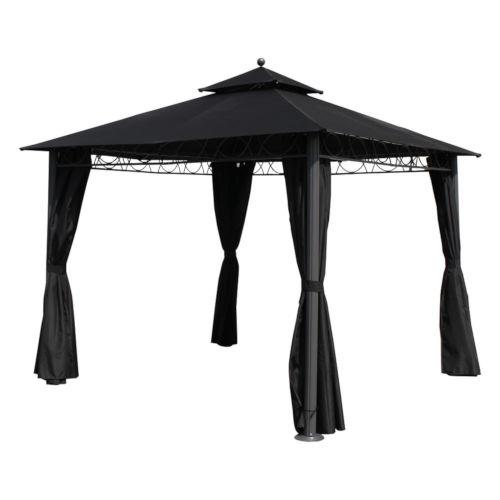 St. Kitts Black 10 Ft. Aluminum Polyester Double-Vented and Drapes Square Gazebo