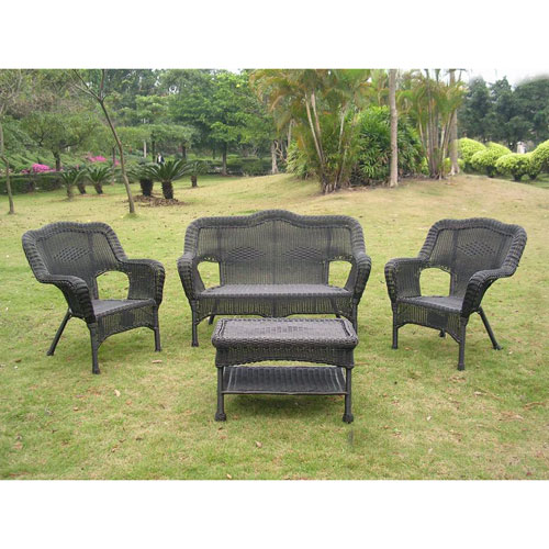 Four Piece Maui Outdoor Seating Group, Antique Black