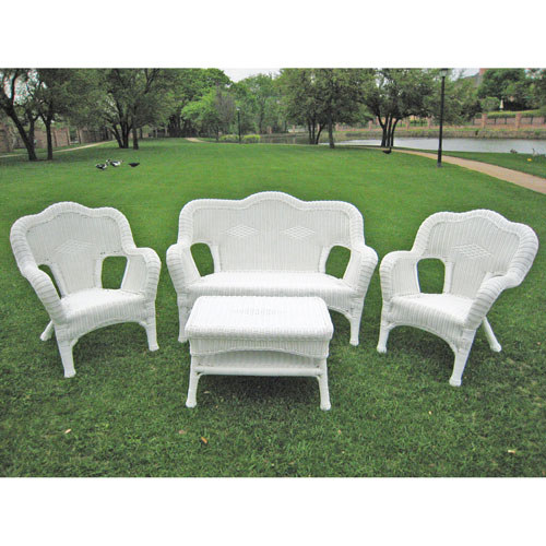 Four Piece Maui Outdoor Seating Group, White