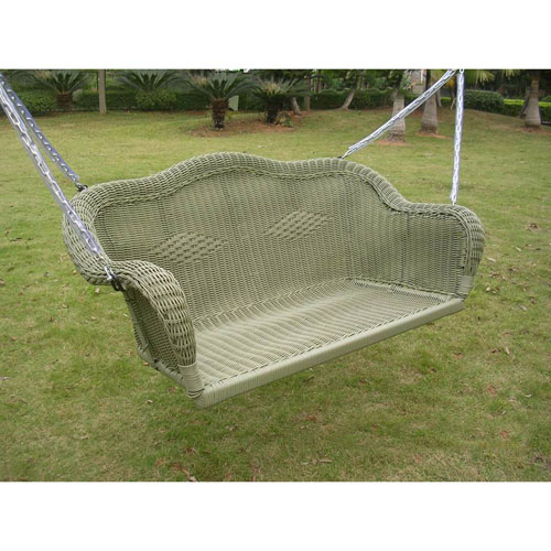 International Caravan Resin Wicker Hanging Loveseat Swing Antique Moss